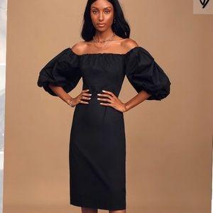 BNWT Lulus Off-Shoulder Puff Sleeve Midi Dress